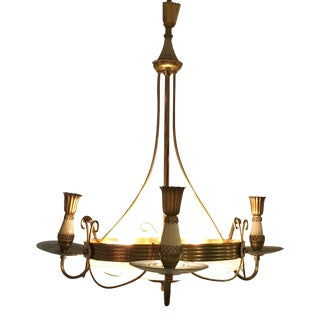 20th Century Brass and Crystal Chandelier by Pietro Chiesa for Fontana Arte For Sale