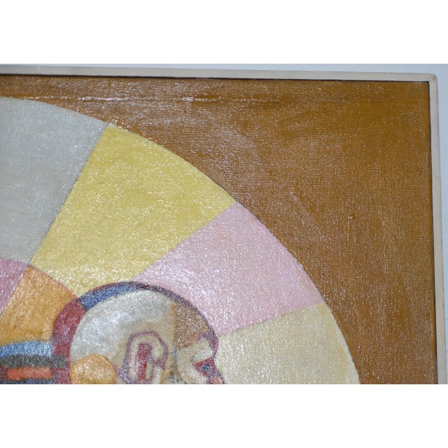"""Canvas """"A Day at the Beach"""" Original Painting by Larsen C.1950s For Sale - Image 7 of 11"""