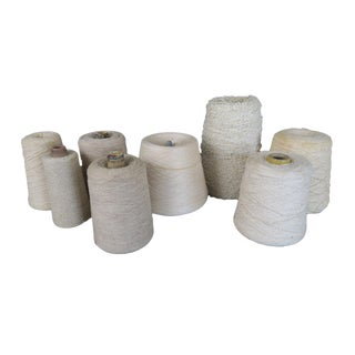 Vintage White Cotton Twine String Full Spool Collection Set of 8 For Sale