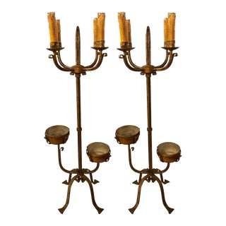 Pair of 19th Century Standing Candelabra Lamps, Gilt Metal Indurstrial For Sale