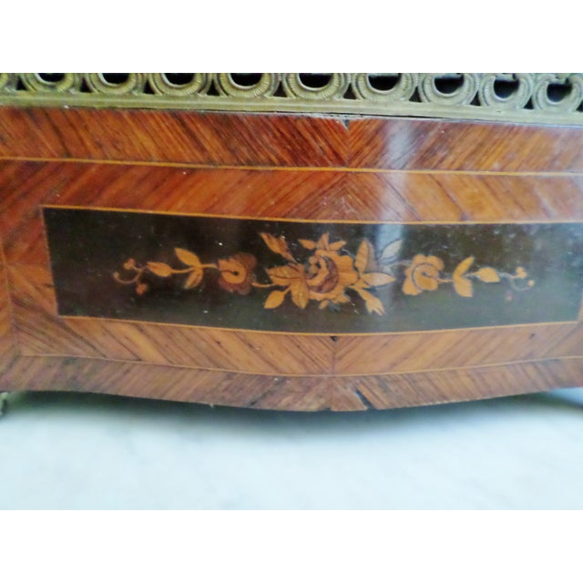 Mid 19th Century 19th Century Antique French Bronze & Marquetry Inlaid Wood Flower Box For Sale - Image 5 of 12