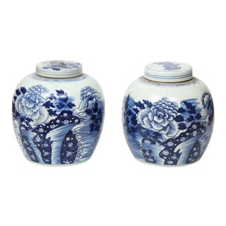 Chinese Export Ginger Jars - A Pair For Sale