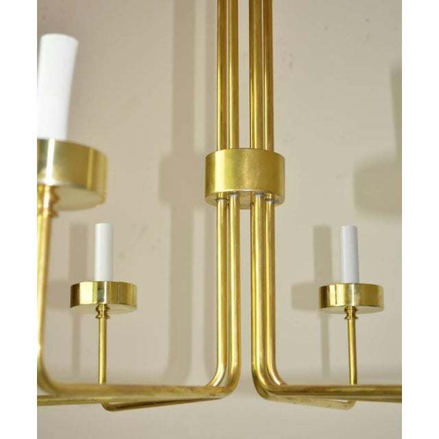 Hart Associates Mid-Century Modern Brass Chandelier by Hart Associates LA For Sale - Image 4 of 6