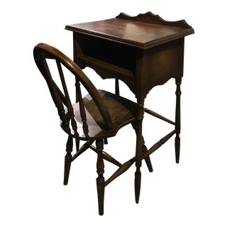 Late 1800s Antique Desk & Chair For Sale