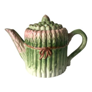 Vintage Majolica Asparagus Tea Pot For Sale