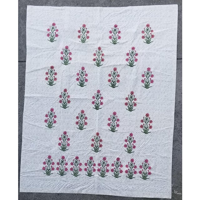 White Hand Block Print Cotton Queen Size Bed Quilt For Sale - Image 8 of 8