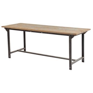 Early 20th Century French Industrial Metal and Wood Table For Sale