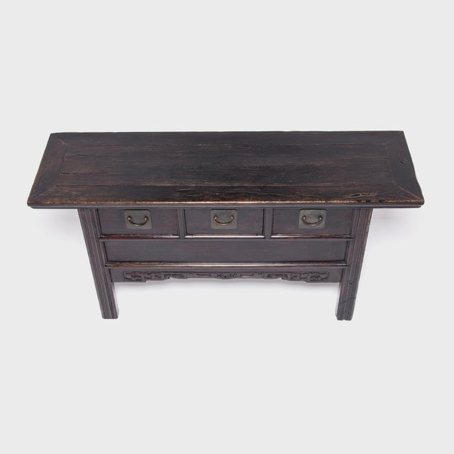 Early 20th Century Chinese Three Drawer Table With Carved Apron For Sale - Image 5 of 10