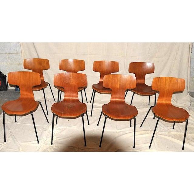 Fritz Hansen 1960s Vintage Arne Jacobsen for Fritz Hansen Post Modern Chairs - Set of 8 For Sale - Image 4 of 4