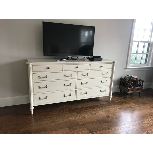 Hollywood Regency Hickory Chair Antique White Bank Dresser For Sale - Image 3 of 7