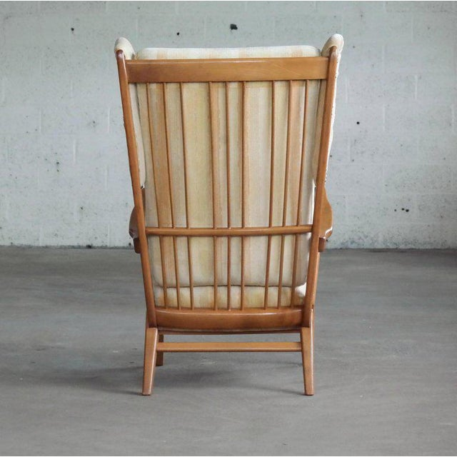 1950s Danish Midcentury Wingback Lounge Chair With Exposed Sides For Sale - Image 5 of 13