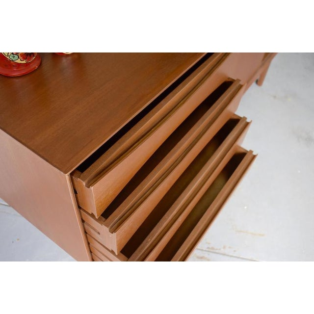 Long Mid Century Modern Teak Credenza / Media Stand For Sale - Image 9 of 11