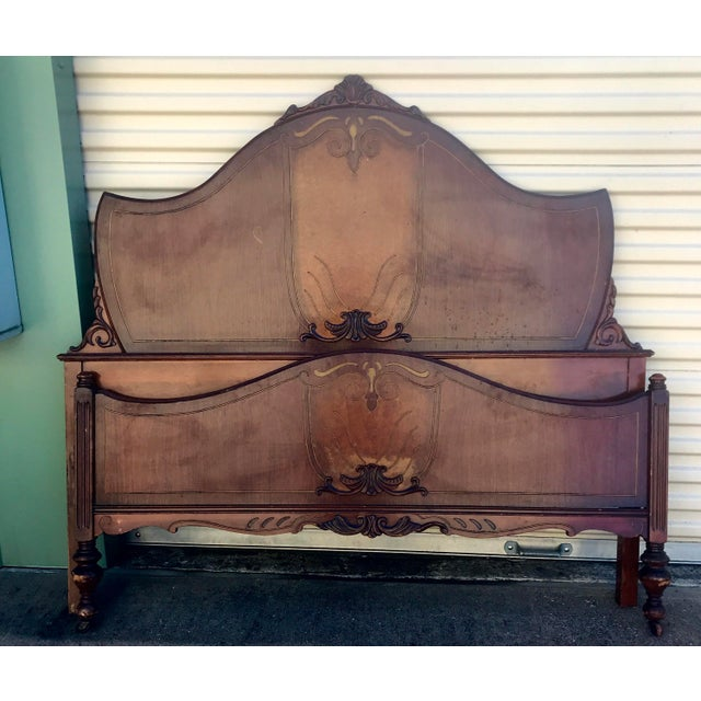 1930s Traditional Full Size Inlay Bedframe With Rails For Sale - Image 9 of 9
