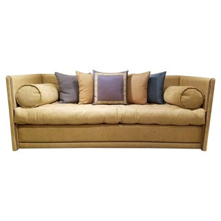 Studded Leather Shelter Sofa For Sale