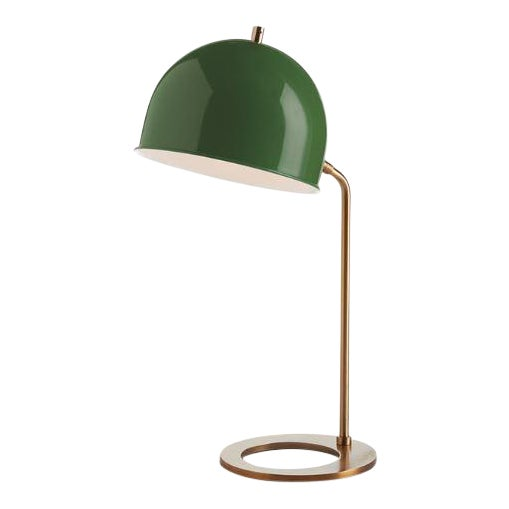 Kenneth Ludwig Chicago Clive Emerald & Brass Lamp For Sale