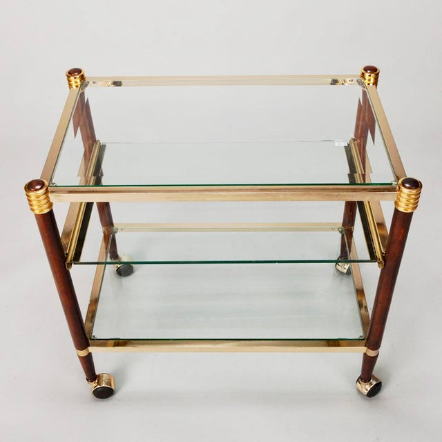 Mid-Century Italian Brass Glass and Polished Wood Trolley Table or Bar Cart For Sale - Image 5 of 8