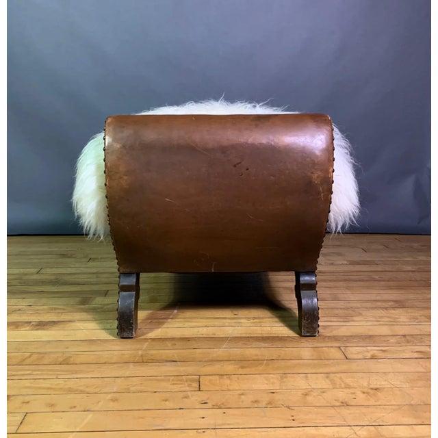 Gold 1930s Otto Schulz Leather & Sheepskin Footstool, Boet, Sweden For Sale - Image 8 of 11