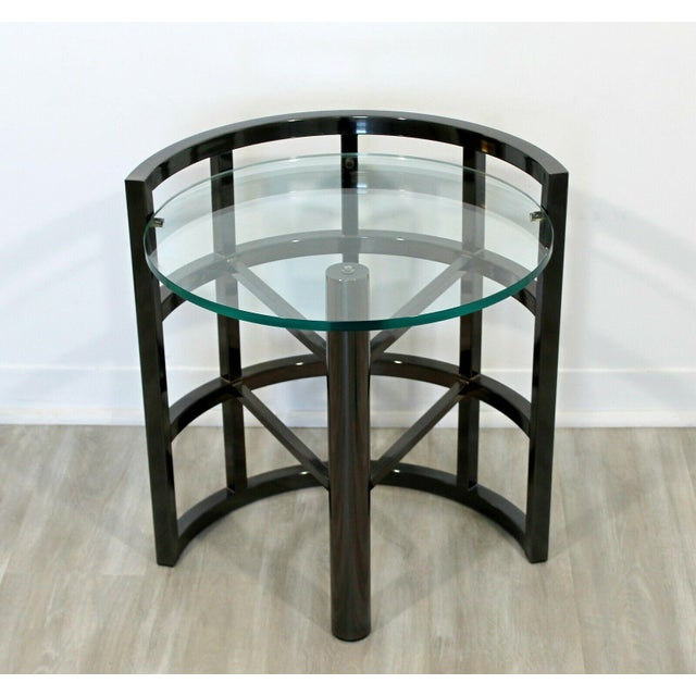 Metal Contemporary Modern Brueton Round Gunmetal Glass Side End Table 80s Asymmetrical For Sale - Image 7 of 12