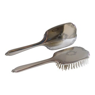 Sterling Silver Hand Mirror and Brush Set