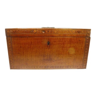 Early 19th Century Antique Marquetry Inlaid English Tea Caddy For Sale