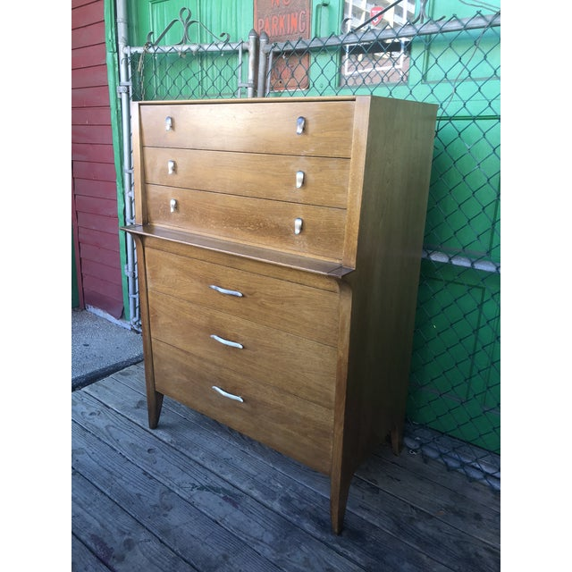 1960s Mid Century Modern Profile Highboy Dresser by Drexel For Sale - Image 11 of 13