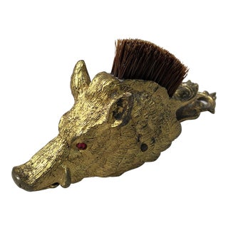 Victorian Brass Boar's Head Form Paper Clip With Brush