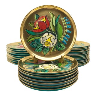 Russel Wright Stuebenville Gilded Hand Painted Ceramic Plates - Set of 33 For Sale