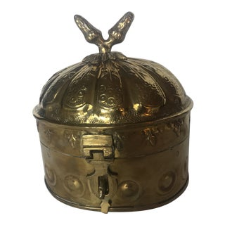 Solid Brass Hinged Box With Acorn Top For Sale