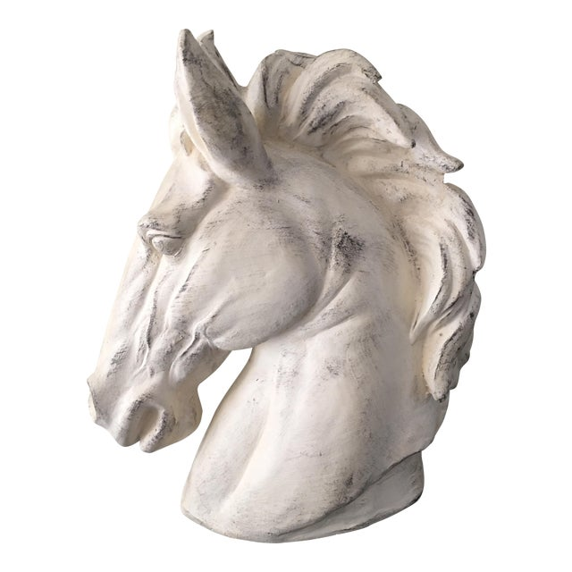 Metal Whitewashed Outdoor Horse Bust For Sale - Image 7 of 7