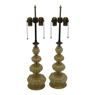 Murano 1920s Table Lamps Deep Gold Flecks Buccilante by Barovier & Toso - a Pair For Sale