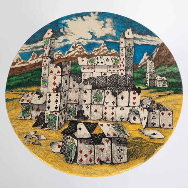 "Metal Piero Fornasetti ""Città DI Carte"" Side Tables, Circa 1950s - a Pair For Sale - Image 7 of 13"
