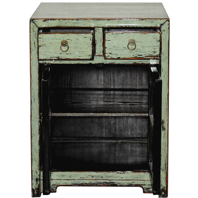 Distressed Side Chest in Sage For Sale - Image 4 of 7