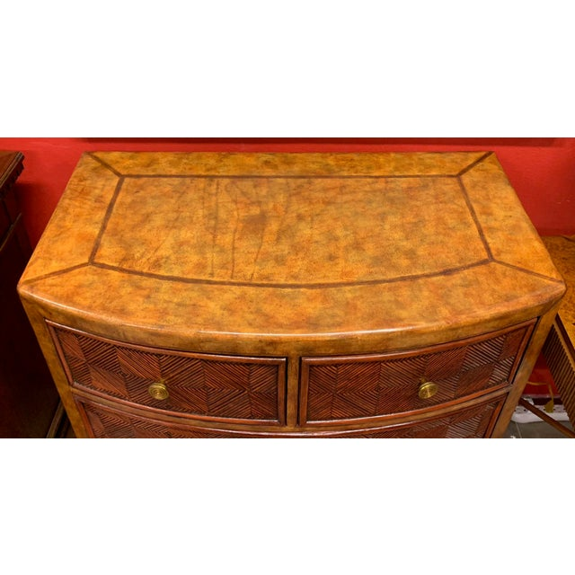 Lineage Leather and Pencil Rattan Chest For Sale In Tampa - Image 6 of 11