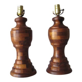 1950s Mid-Century Pair of Wood Table Lamps For Sale