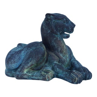 Vintage Bronze Tiger Table Sculpture For Sale