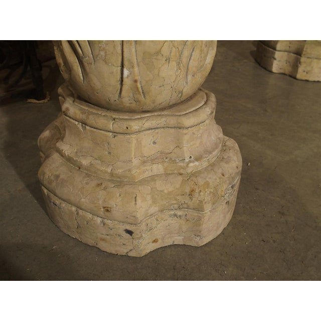 Mid 18th Century Rare Pair of Carved Italian Marble Stoups, Giallo Reale For Sale - Image 5 of 11