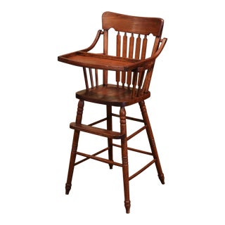 Mid-20th Century English Carved Oak Ladder Back Child High Chair For Sale