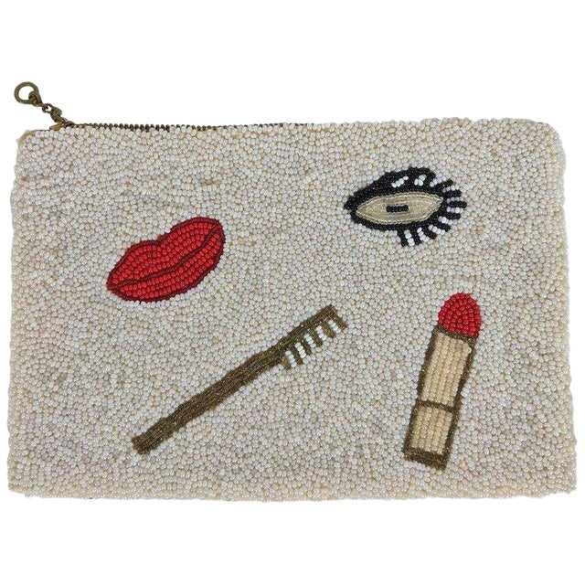 Surrealistic Beaded Eye Lips Cosmetic Bag 1930s For Sale