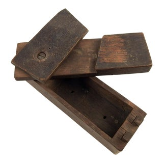 Antique Hand Made Puzzle Box Match Holder Safe For Sale