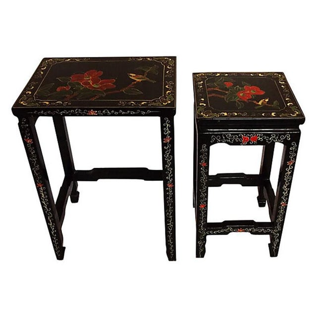 Asian 1970s Asian Lacquered Nesting Tables - a Pair For Sale - Image 3 of 8