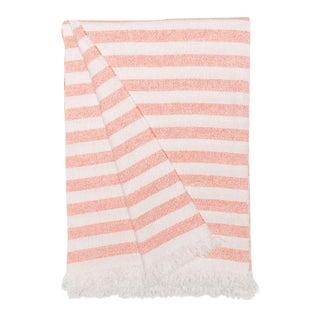 Kos Parasol Cashmere Linen Travel Blanket, Pink Stripe For Sale