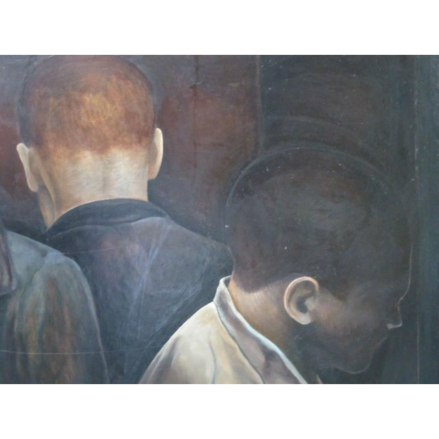 Large oil painting on board in dark, moody tones showing 3 different men. Signed Berner and dated 94 at lower left corner....