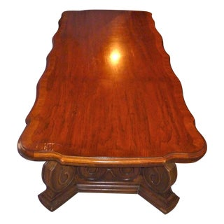 Vintage Rare MCM Mid Century Modern the Reserve Curved Coffee Table Thomasville Solid Wood Quality For Sale