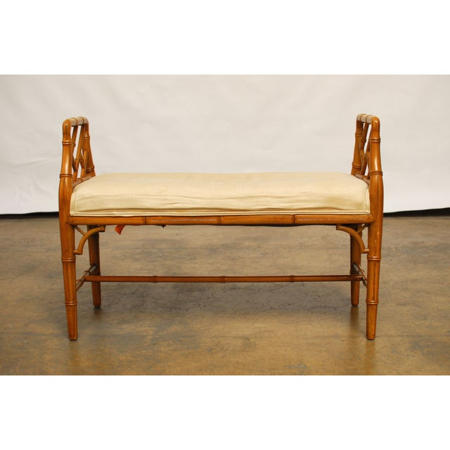 Hollywood Regency Faux Bamboo Chippendale Bench - Image 2 of 6