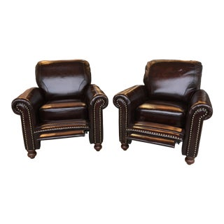 Leather Italia Burgundy Recliners - A Pair For Sale