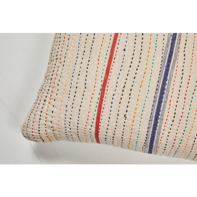 Vintage cotton canvas with multicolored quilting stitches. Natural linen back, invisible zipper closure and feather and...