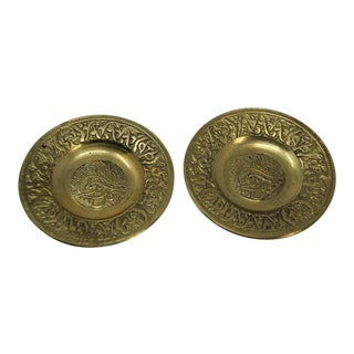 Small Turkish Ottoman Brass Tray Candleholders - a Pair For Sale