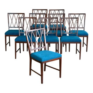 Set of Ten Danish Chairs in Rosewood Stained Beech Attributed to Ole Wanscher For Sale