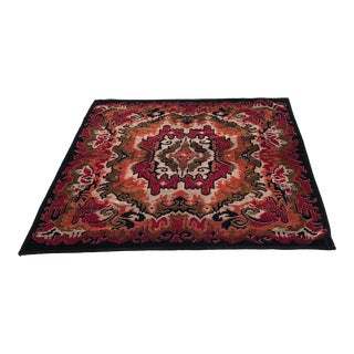 Antique Moroccan Style Woven Viscose Throw Rug - 4′6″ × 5′4″ For Sale
