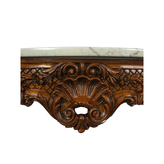 Early 20th Century 1900s French Wall Mounted Marble Console Table For Sale - Image 5 of 10